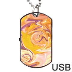 Yellow Marble Dog Tag Usb Flash (two Sides)