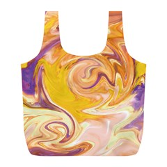 Yellow Marble Full Print Recycle Bags (l)  by tarastyle