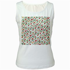 Strawberry Pattern Women s White Tank Top