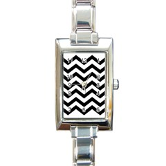 Black And White Chevron Rectangle Italian Charm Watch