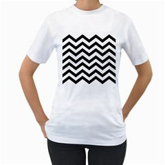 Black And White Chevron Women s T-Shirt (White) (Two Sided)
