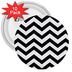 Black And White Chevron 3  Buttons (10 pack)