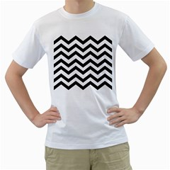 Black And White Chevron Men s T-Shirt (White) (Two Sided)