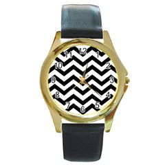 Black And White Chevron Round Gold Metal Watch