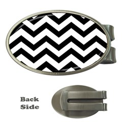 Black And White Chevron Money Clips (Oval)