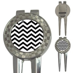 Black And White Chevron 3-in-1 Golf Divots