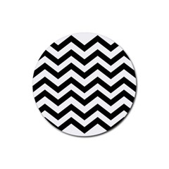 Black And White Chevron Rubber Round Coaster (4 pack)
