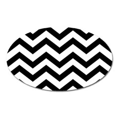 Black And White Chevron Oval Magnet