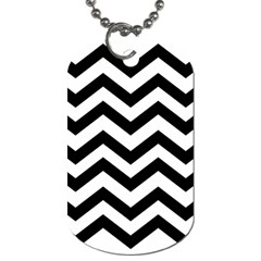 Black And White Chevron Dog Tag (One Side)