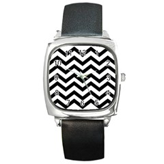 Black And White Chevron Square Metal Watch