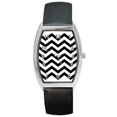 Black And White Chevron Barrel Style Metal Watch