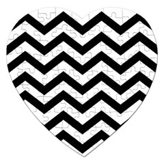 Black And White Chevron Jigsaw Puzzle (Heart)