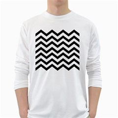 Black And White Chevron White Long Sleeve T-Shirts