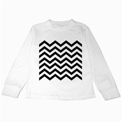 Black And White Chevron Kids Long Sleeve T-Shirts