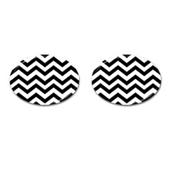 Black And White Chevron Cufflinks (Oval)