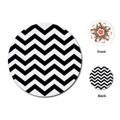 Black And White Chevron Playing Cards (Round)