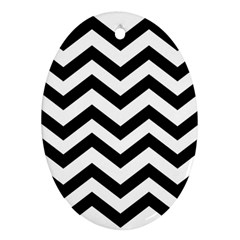 Black And White Chevron Oval Ornament (Two Sides)