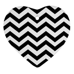 Black And White Chevron Heart Ornament (Two Sides)