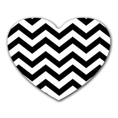 Black And White Chevron Heart Mousepads