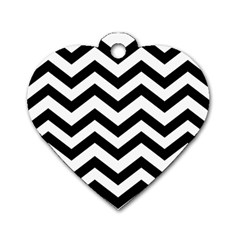 Black And White Chevron Dog Tag Heart (One Side)