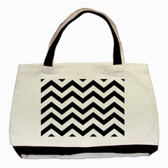 Black And White Chevron Basic Tote Bag (Two Sides)