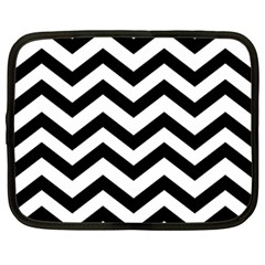 Black And White Chevron Netbook Case (Large)