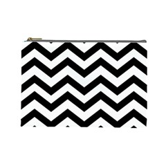 Black And White Chevron Cosmetic Bag (Large)