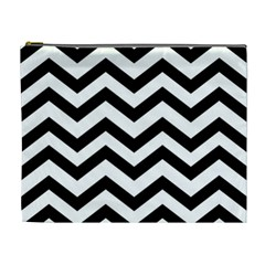 Black And White Chevron Cosmetic Bag (XL)