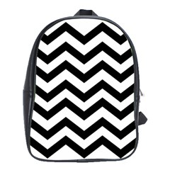 Black And White Chevron School Bags(Large)