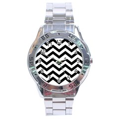 Black And White Chevron Stainless Steel Analogue Watch