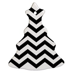 Black And White Chevron Christmas Tree Ornament (Two Sides)