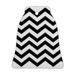 Black And White Chevron Bell Ornament (Two Sides)