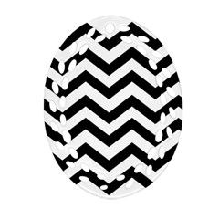 Black And White Chevron Oval Filigree Ornament (Two Sides)