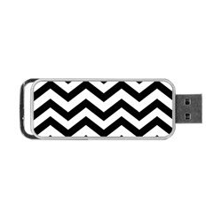 Black And White Chevron Portable USB Flash (One Side)