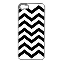 Black And White Chevron Apple iPhone 5 Case (Silver)