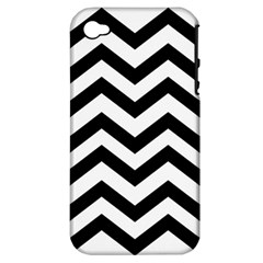 Black And White Chevron Apple iPhone 4/4S Hardshell Case (PC+Silicone)