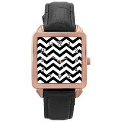 Black And White Chevron Rose Gold Leather Watch