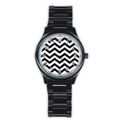 Black And White Chevron Stainless Steel Round Watch