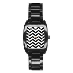 Black And White Chevron Stainless Steel Barrel Watch