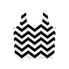 Black And White Chevron Full Print Recycle Bags (S)
