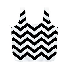 Black And White Chevron Full Print Recycle Bags (M)