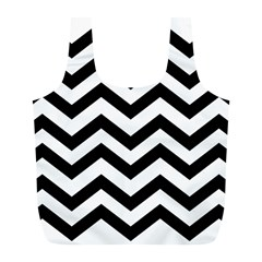 Black And White Chevron Full Print Recycle Bags (L)