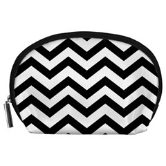 Black And White Chevron Accessory Pouches (Large)