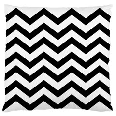 Black And White Chevron Large Flano Cushion Case (Two Sides)