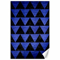Triangle2 Black Marble & Blue Brushed Metal Canvas 24  X 36  by trendistuff