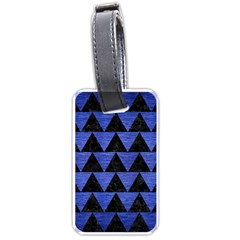 Triangle2 Black Marble & Blue Brushed Metal Luggage Tag (one Side)
