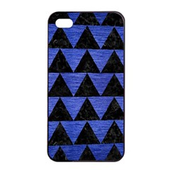 Triangle2 Black Marble & Blue Brushed Metal Apple Iphone 4/4s Seamless Case (black) by trendistuff