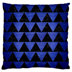 Triangle2 Black Marble & Blue Brushed Metal Standard Flano Cushion Case (two Sides) by trendistuff