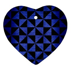 Triangle1 Black Marble & Blue Brushed Metal Ornament (heart) by trendistuff