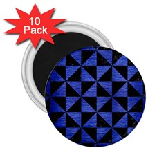 Triangle1 Black Marble & Blue Brushed Metal 2 25  Magnet (10 Pack) by trendistuff